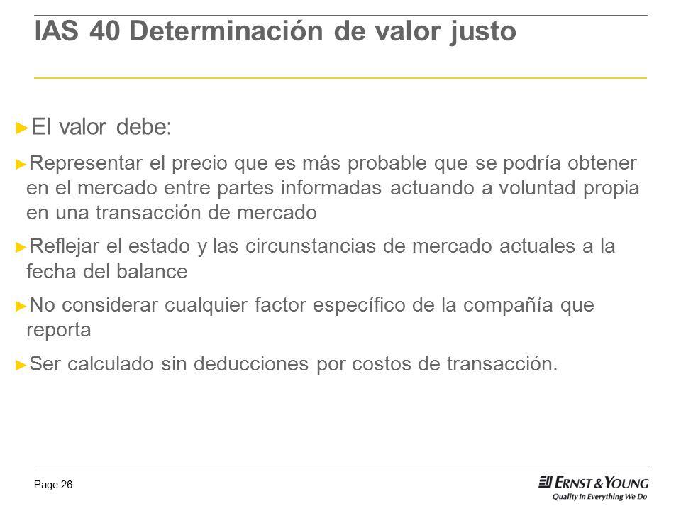 IAS 40 Determinación de valor justo