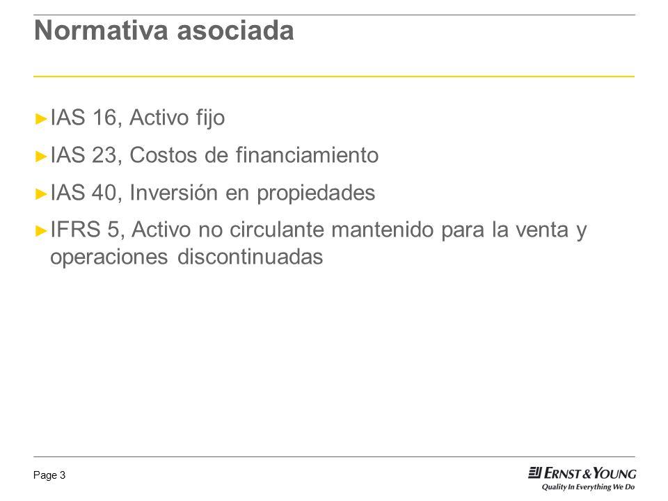 Normativa asociada IAS 16, Activo fijo