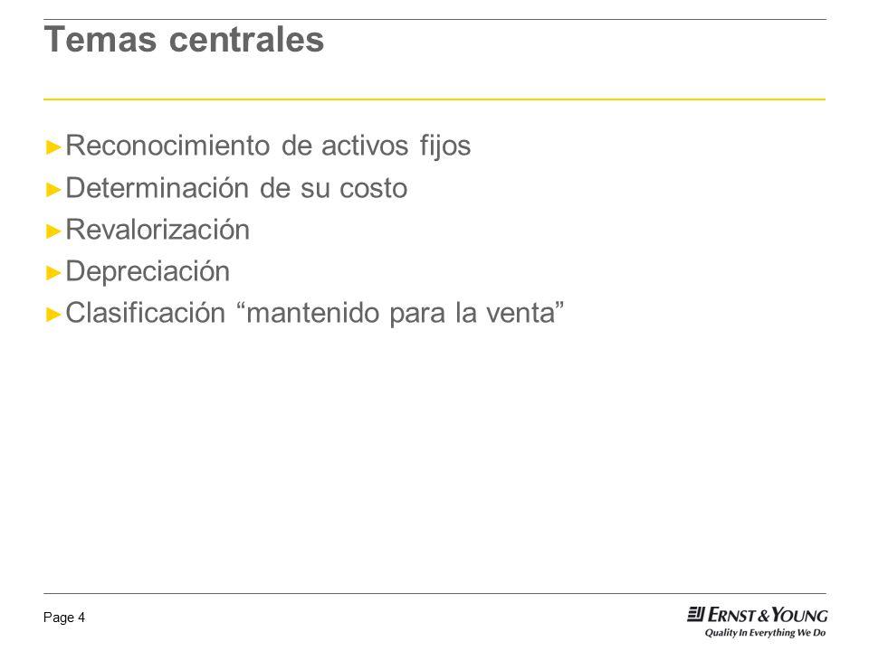 Temas centrales Reconocimiento de activos fijos