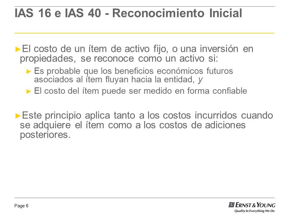 IAS 16 e IAS 40 - Reconocimiento Inicial