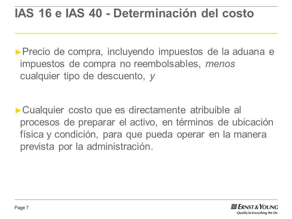 IAS 16 e IAS 40 - Determinación del costo
