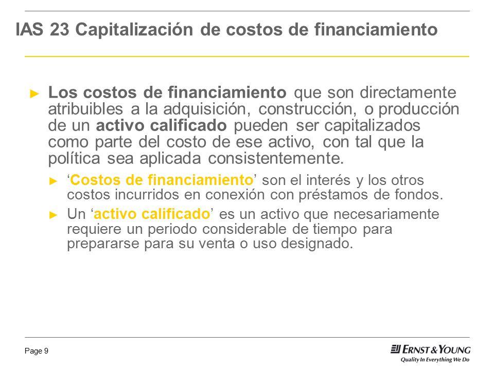 IAS 23 Capitalización de costos de financiamiento