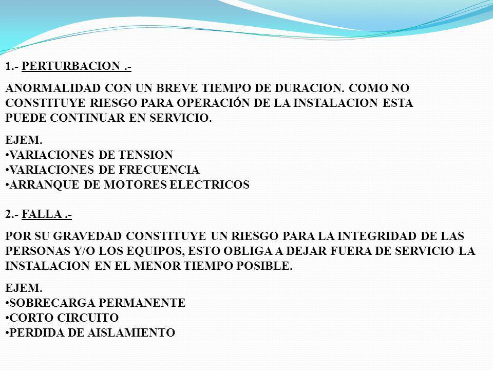 1.- PERTURBACION .- ANORMALIDAD CON UN BREVE TIEMPO DE DURACION. COMO NO CONSTITUYE RIESGO PARA OPERACIÓN DE LA INSTALACION ESTA.