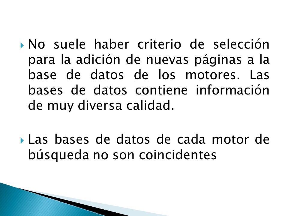 No suele haber criterio de selección para la adición de nuevas páginas a la base de datos de los motores. Las bases de datos contiene información de muy diversa calidad.