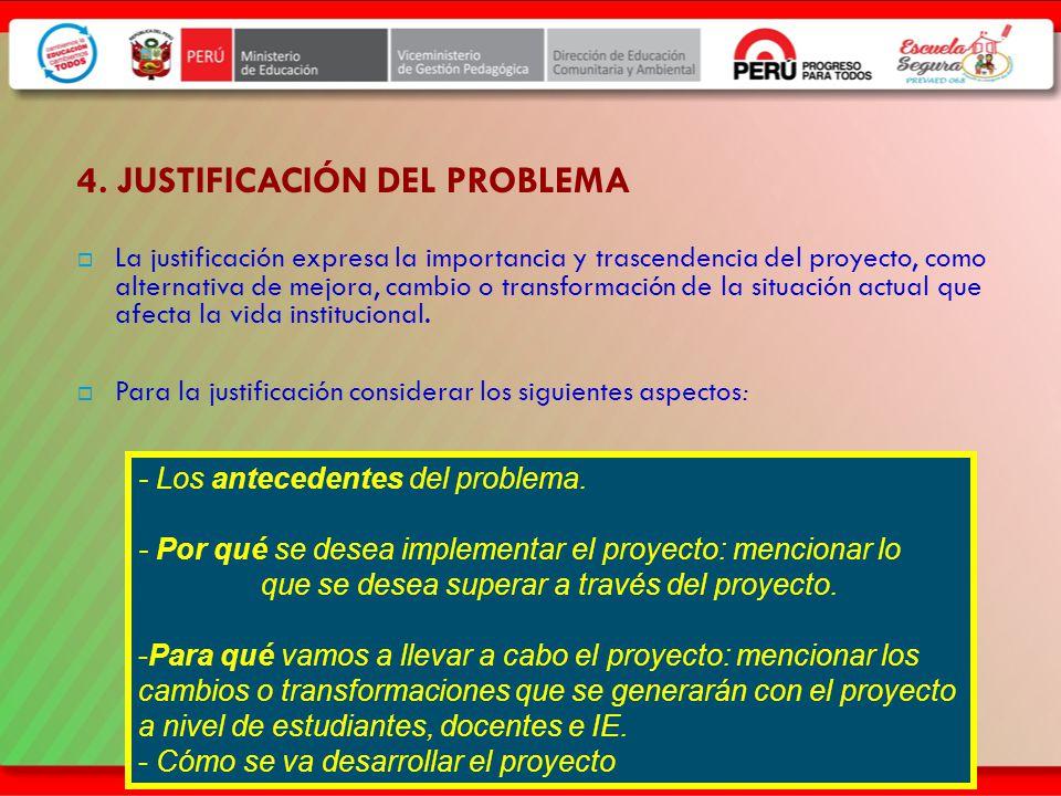 4. JUSTIFICACIÓN DEL PROBLEMA