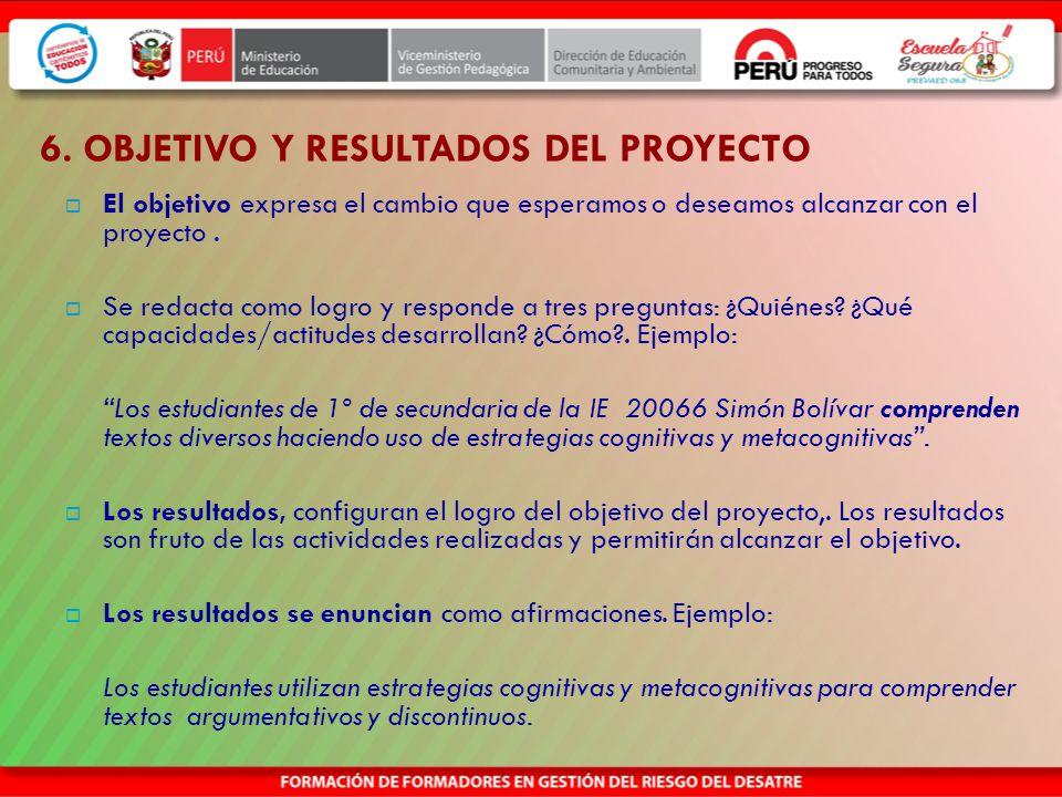 6. OBJETIVO Y RESULTADOS DEL PROYECTO
