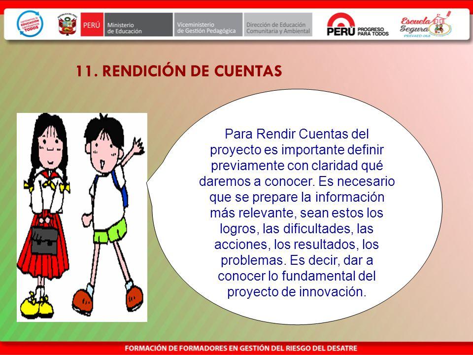 11. RENDICIÓN DE CUENTAS