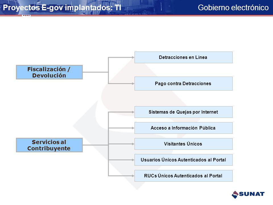 Proyectos E-gov implantados: TI