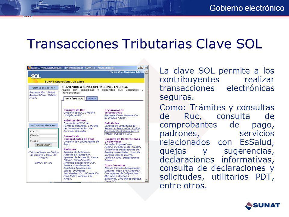 Transacciones Tributarias Clave SOL