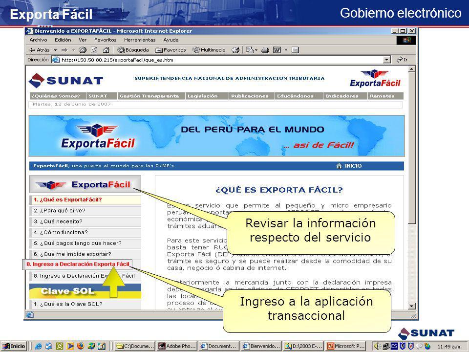 Exporta Fácil Revisar la información respecto del servicio