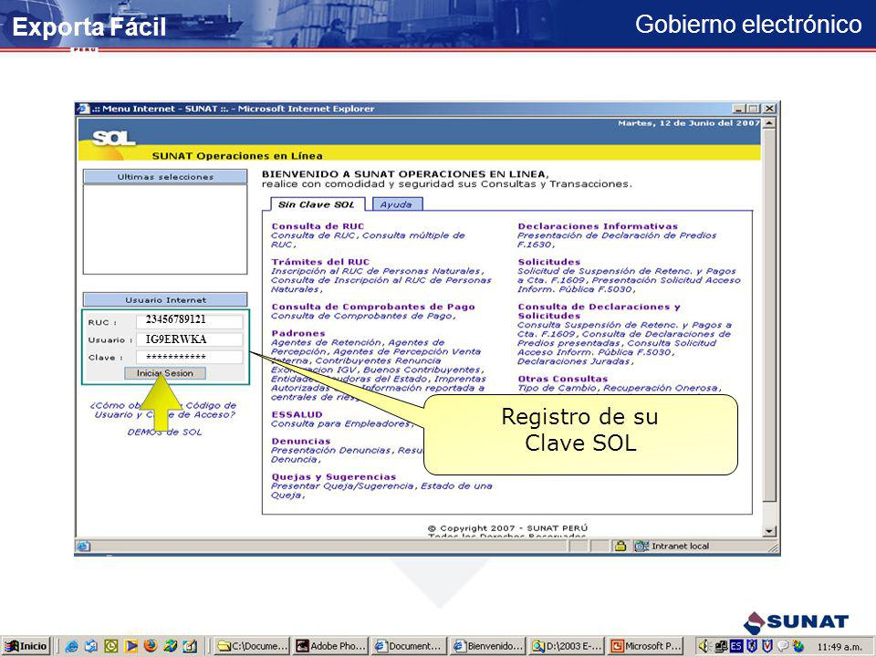 Exporta Fácil Registro de su Clave SOL 23456789121 IG9ERWKA