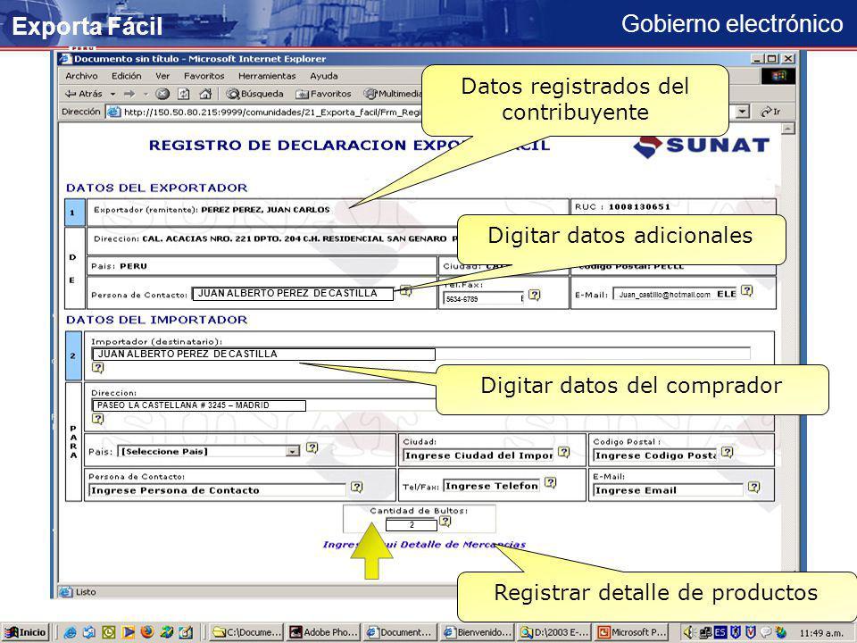 Exporta Fácil Datos registrados del contribuyente