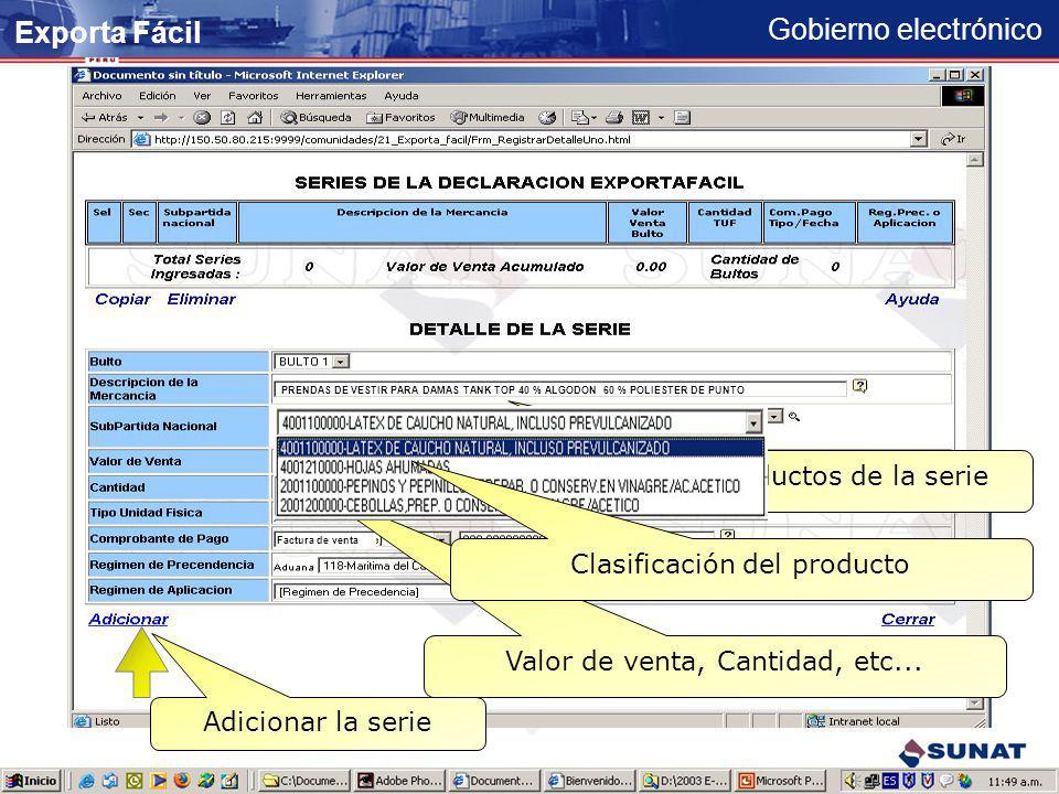 Exporta Fácil Registrar productos de la serie