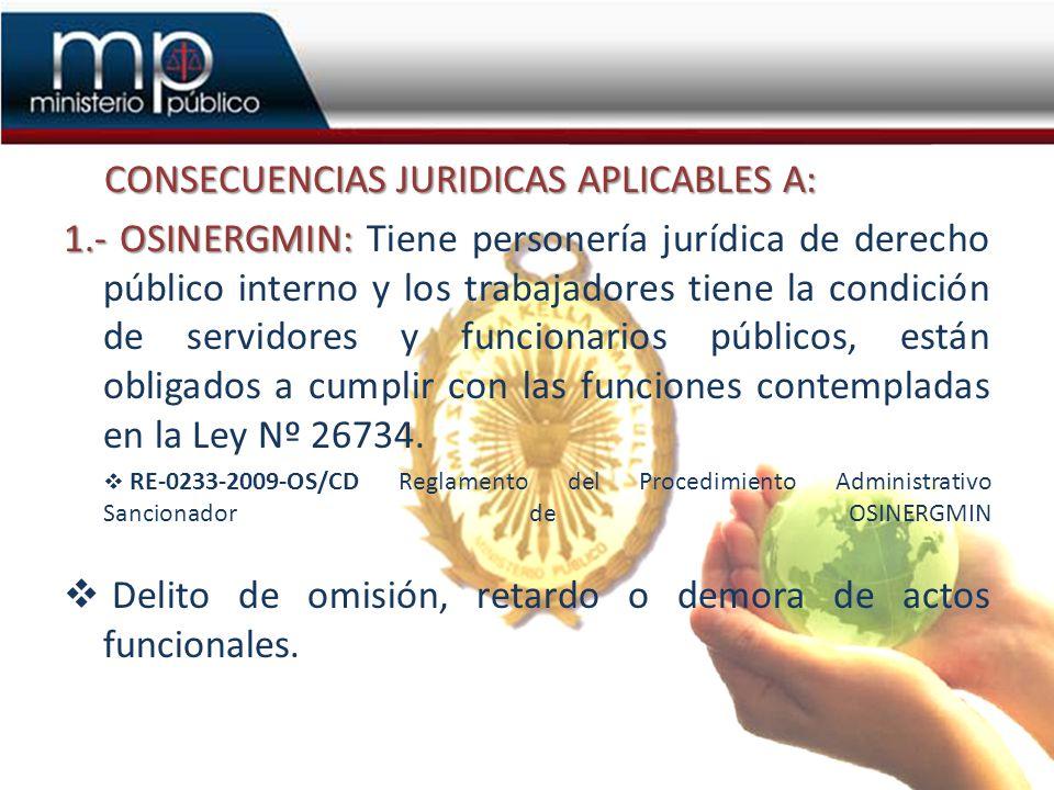 CONSECUENCIAS JURIDICAS APLICABLES A: