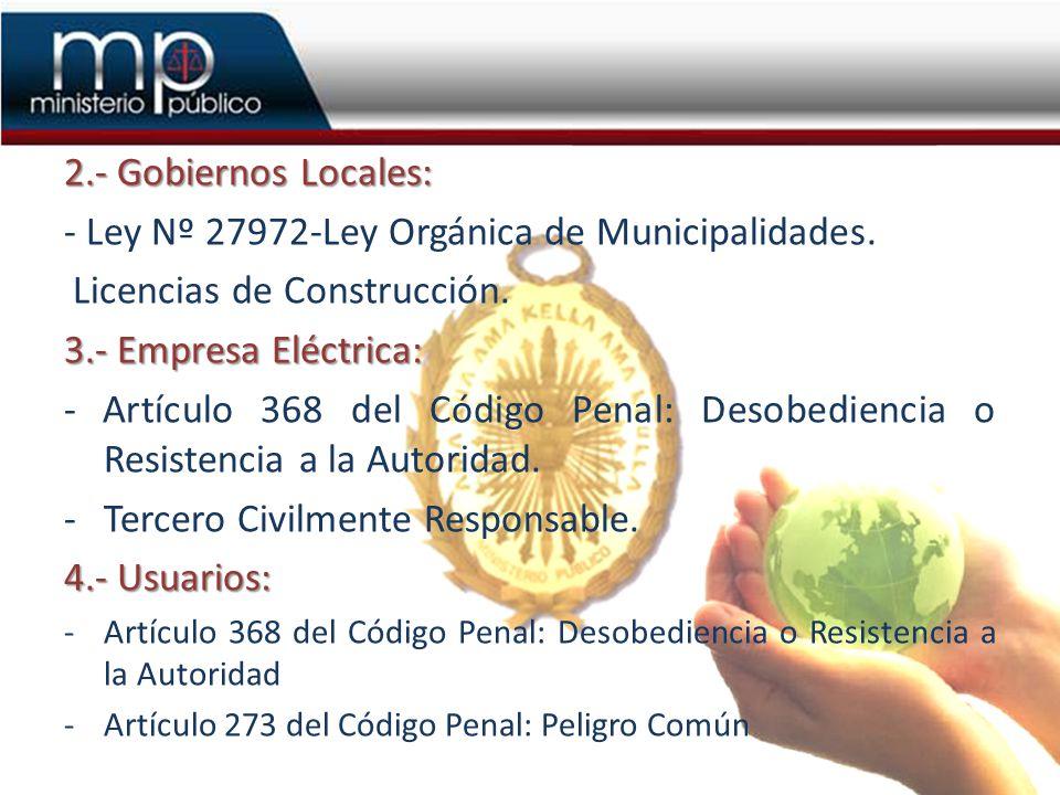 - Ley Nº 27972-Ley Orgánica de Municipalidades.