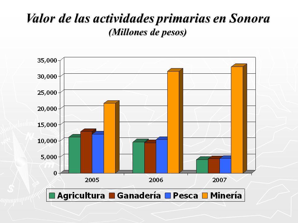 Valor de las actividades primarias en Sonora