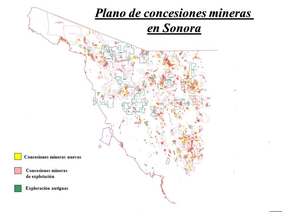 Plano de concesiones mineras Concesiones mineras nuevas