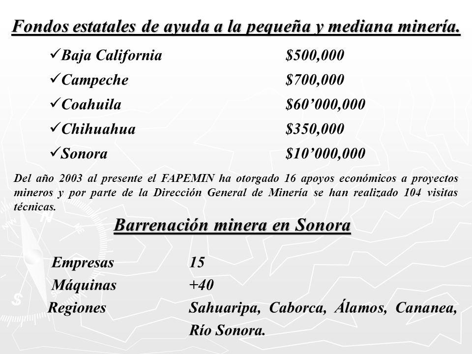 Fondos estatales de ayuda a la pequeña y mediana minería.