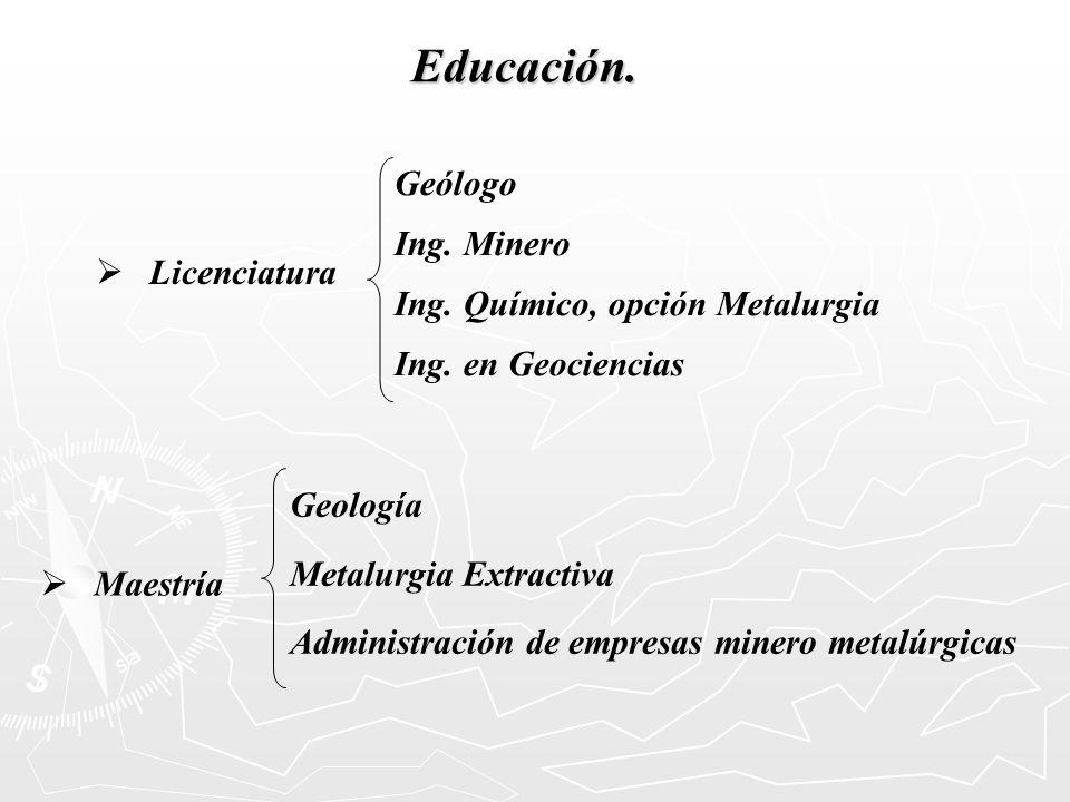 Educación. Geólogo Ing. Minero Ing. Químico, opción Metalurgia