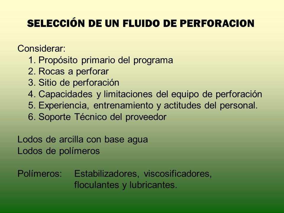 SELECCIÓN DE UN FLUIDO DE PERFORACION