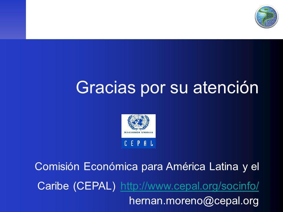 Gracias por su atención Comisión Económica para América Latina y el Caribe (CEPAL) http://www.cepal.org/socinfo/ hernan.moreno@cepal.org