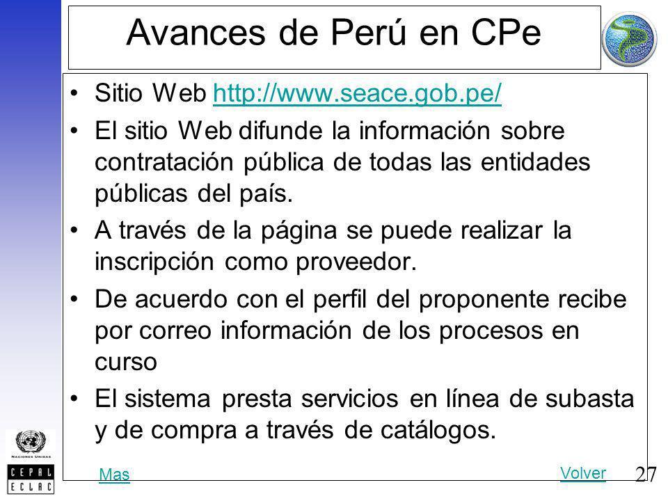 Avances de Perú en CPe Sitio Web http://www.seace.gob.pe/