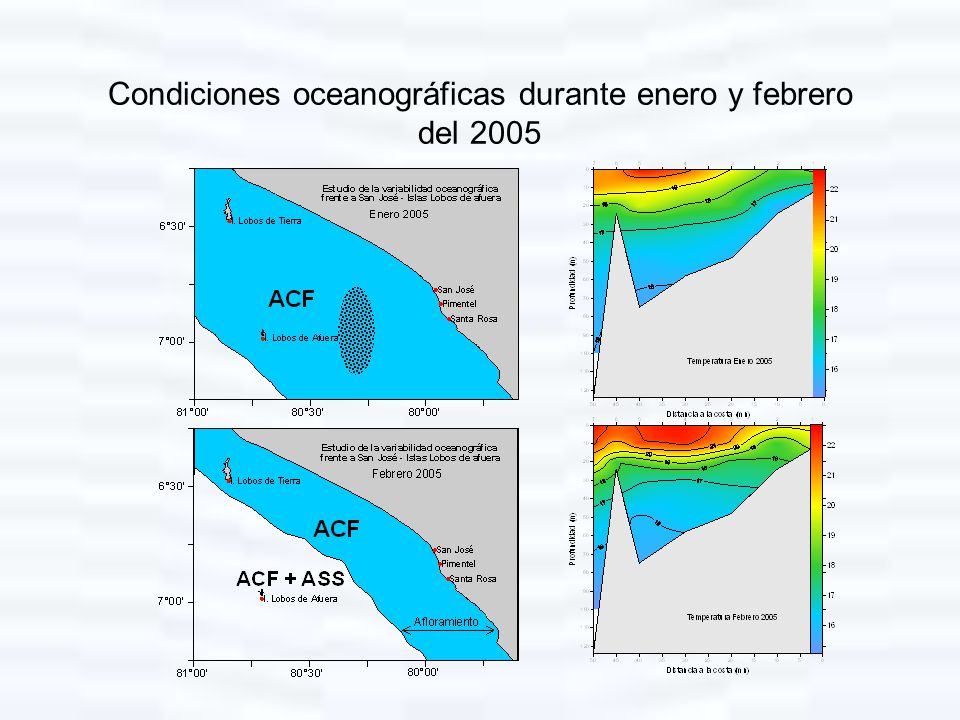 Condiciones oceanográficas durante enero y febrero del 2005