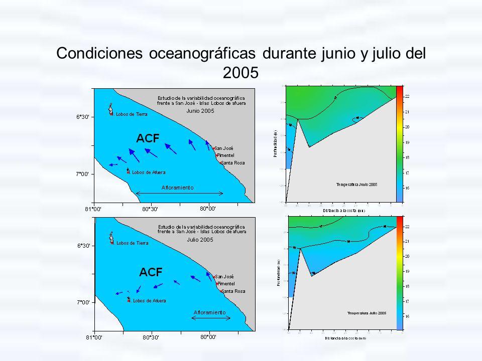 Condiciones oceanográficas durante junio y julio del 2005