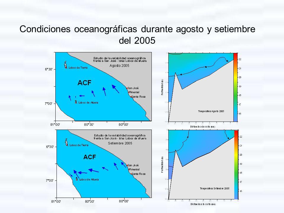 Condiciones oceanográficas durante agosto y setiembre del 2005
