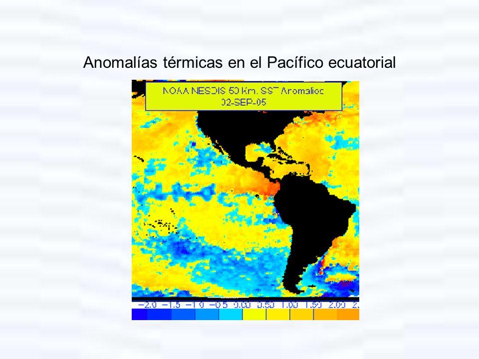 Anomalías térmicas en el Pacífico ecuatorial