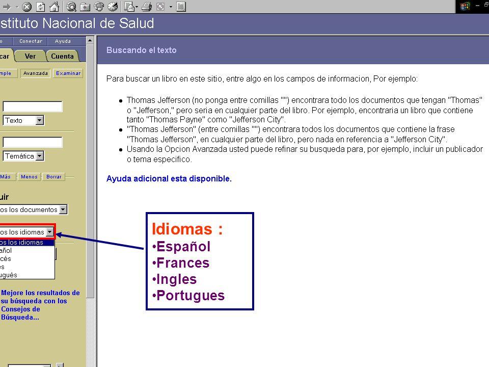 Idiomas : Español Frances Ingles Portugues