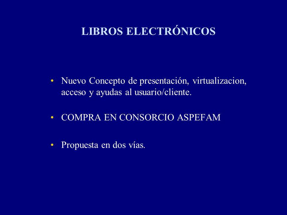 LIBROS ELECTRÓNICOS Nuevo Concepto de presentación, virtualizacion, acceso y ayudas al usuario/cliente.