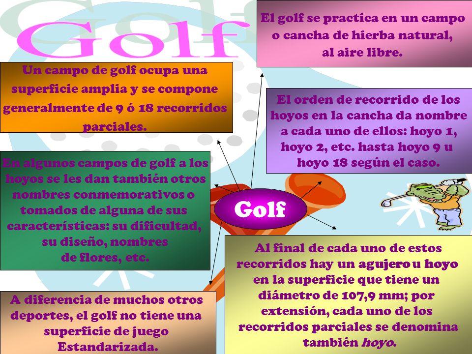Golf Golf El golf se practica en un campo o cancha de hierba natural,
