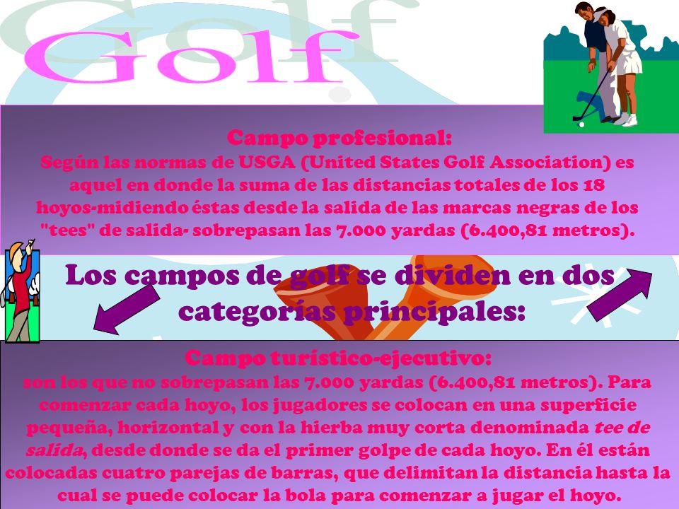 Golf Los campos de golf se dividen en dos categorías principales: