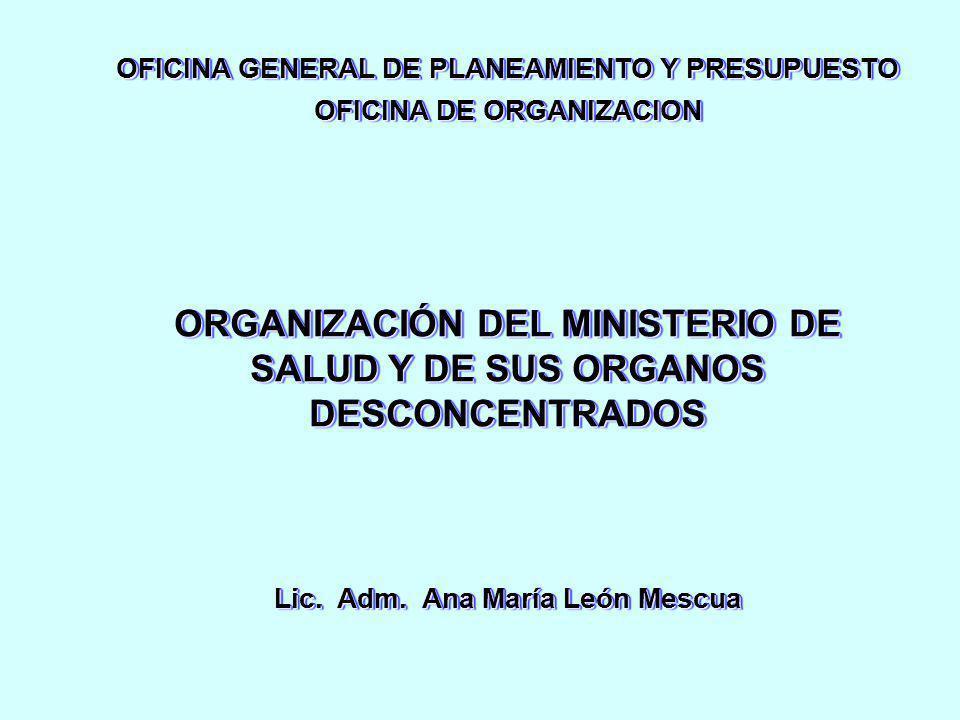 ORGANIZACIÓN DEL MINISTERIO DE SALUD Y DE SUS ORGANOS DESCONCENTRADOS