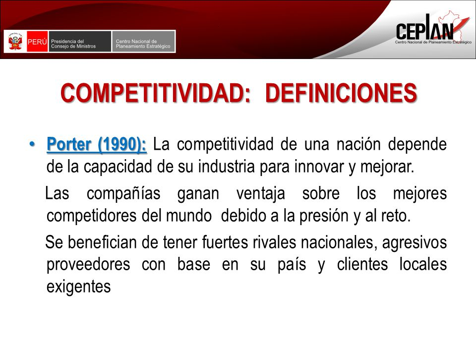 COMPETITIVIDAD: DEFINICIONES