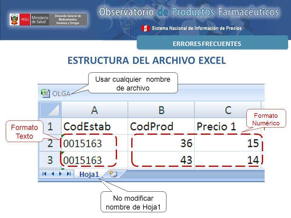 ESTRUCTURA DEL ARCHIVO EXCEL