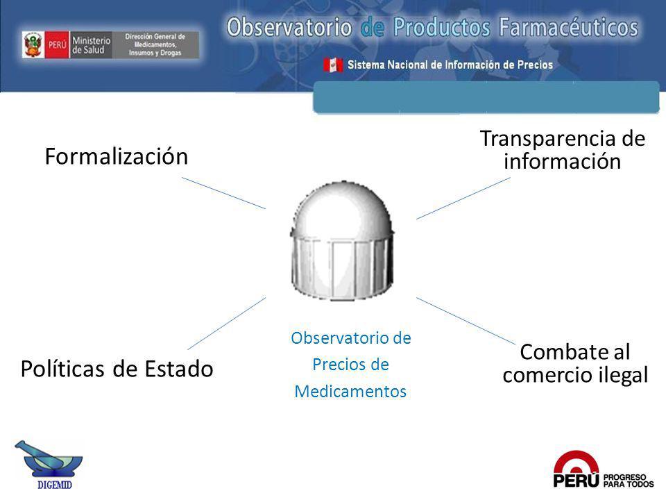 Formalización Políticas de Estado Transparencia de información