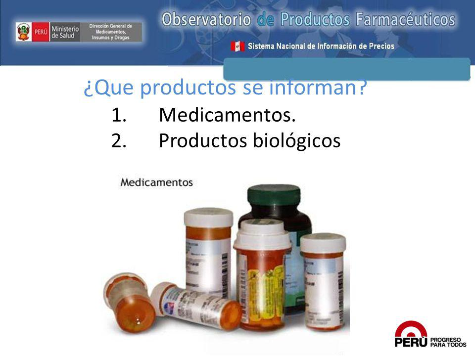 ¿Que productos se informan