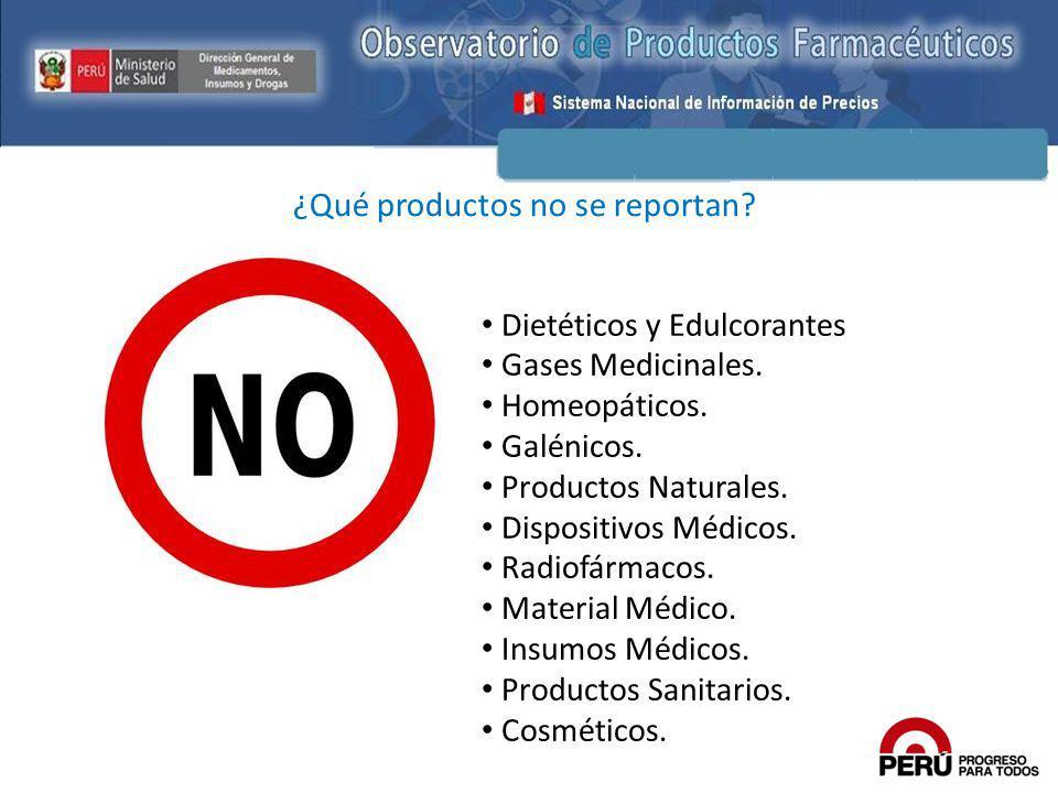¿Qué productos no se reportan