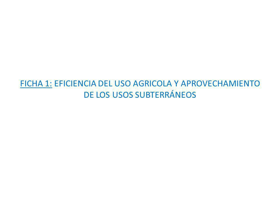 FICHA 1: EFICIENCIA DEL USO AGRICOLA Y APROVECHAMIENTO DE LOS USOS SUBTERRÁNEOS