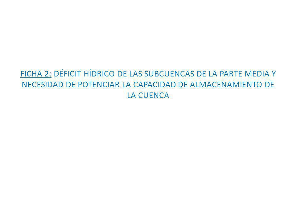 FICHA 2: DÉFICIT HÍDRICO DE LAS SUBCUENCAS DE LA PARTE MEDIA Y NECESIDAD DE POTENCIAR LA CAPACIDAD DE ALMACENAMIENTO DE LA CUENCA