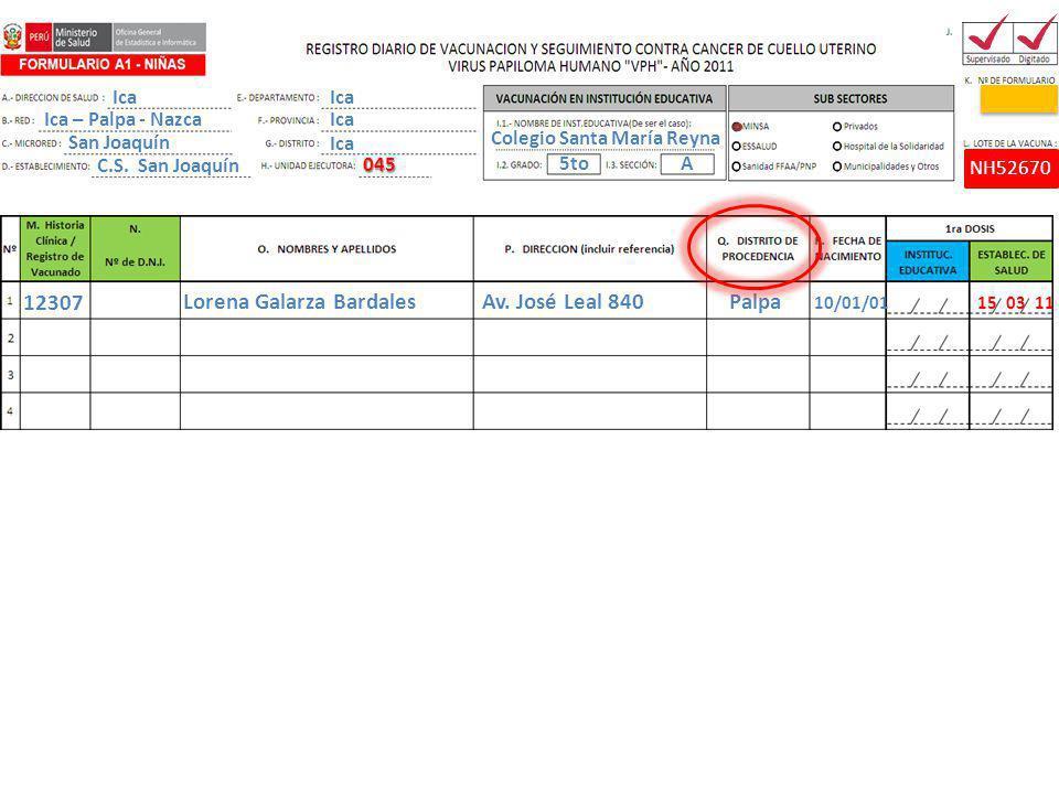 Lorena Galarza Bardales Av. José Leal 840 Palpa 10/01/01 15 03 11