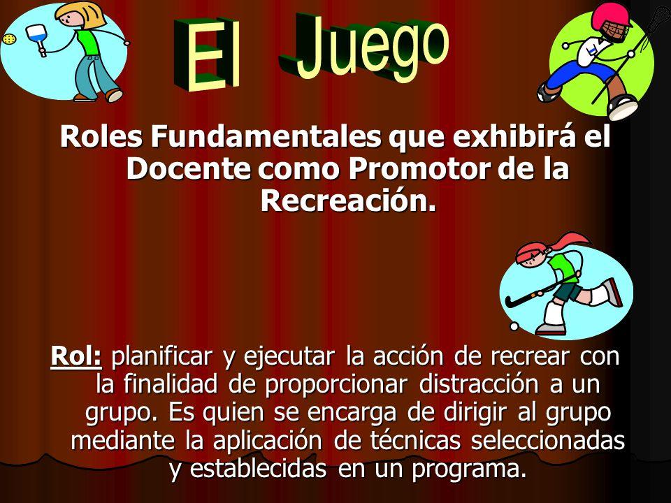 El Juego Roles Fundamentales que exhibirá el Docente como Promotor de la Recreación.