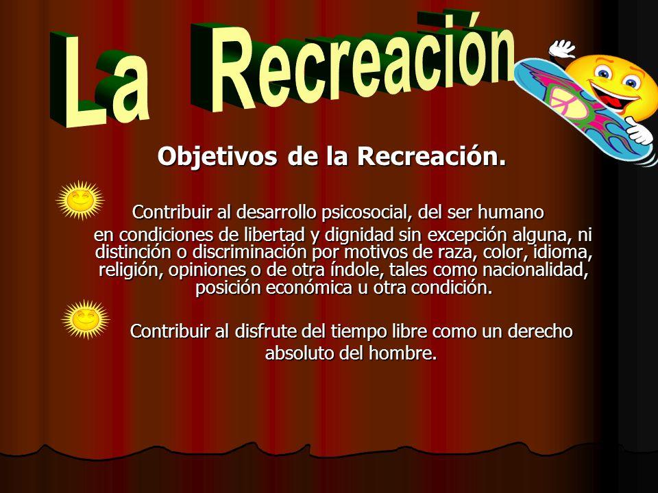 Objetivos de la Recreación.