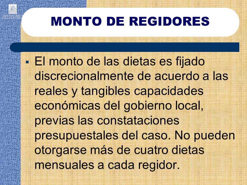 MONTO DE REGIDORES