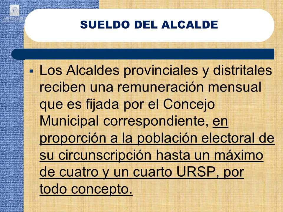 SUELDO DEL ALCALDE