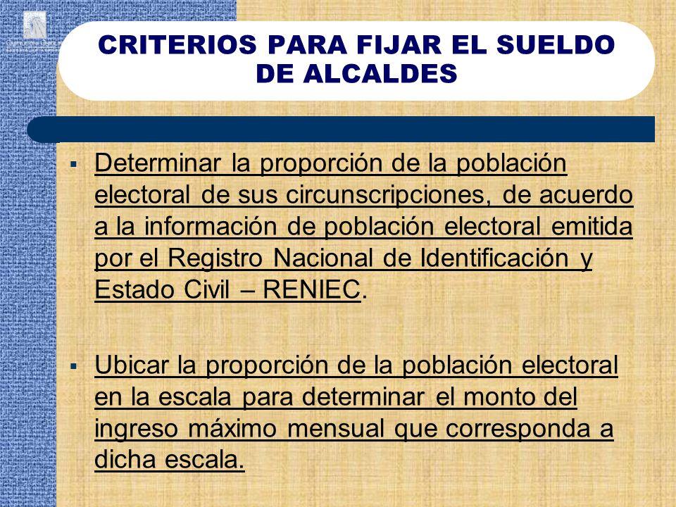 CRITERIOS PARA FIJAR EL SUELDO DE ALCALDES