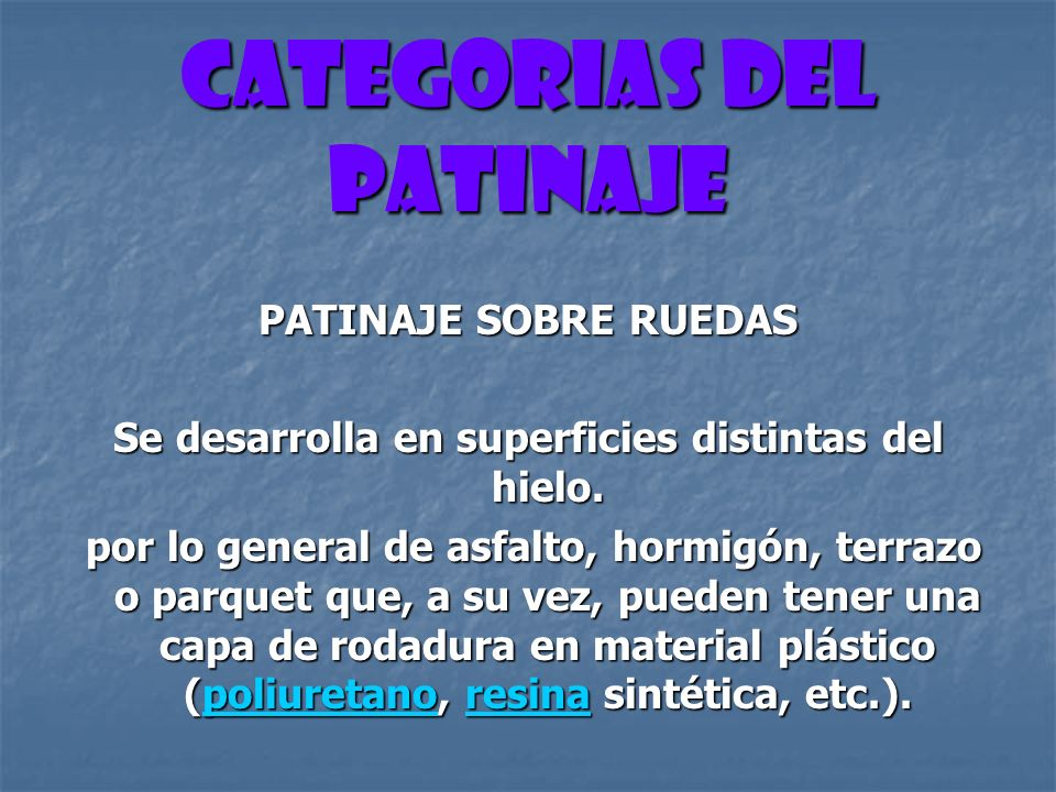 CATEGORIAS DEL PATINAJE