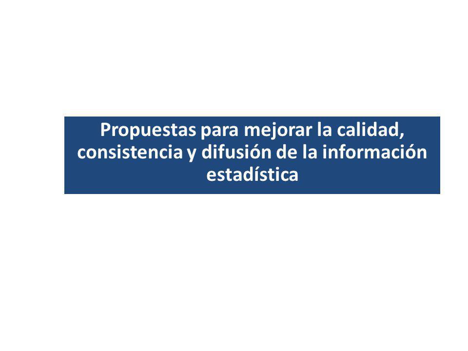 Propuestas para mejorar la calidad, consistencia y difusión de la información estadística
